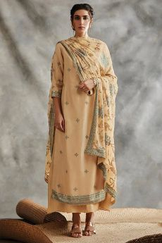 Pale Orange Sequin Embroidered Indian Silk Suit