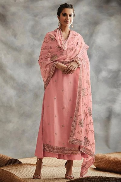 Baby Pink Sequin Embroidered Indian Silk Suit
