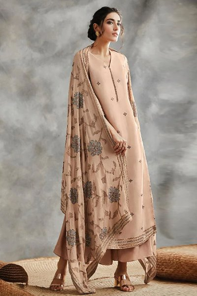 Almond Cream Sequin Embroidered Indian Silk Suit