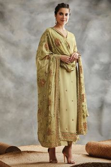 Light Yellow Green Sequin Embroidered Indian Silk Suit
