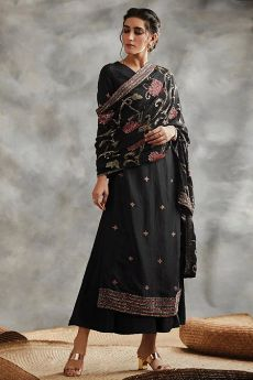 Black Sequin Embroidered Indian Silk Suit