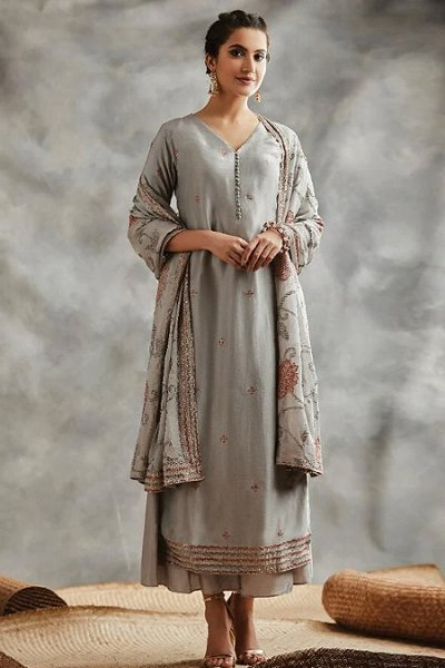 Grey Sequin Embroidered Indian Silk Suit