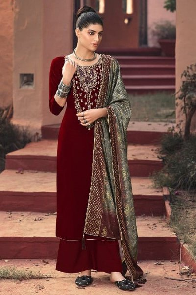 Maroon Zari Embroidered Velvet Palazzo Suit