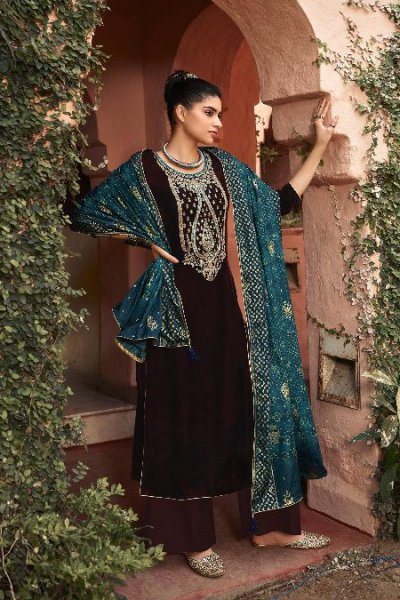 Coffee Brown Zari Embroidered Velvet Palazzo Suit