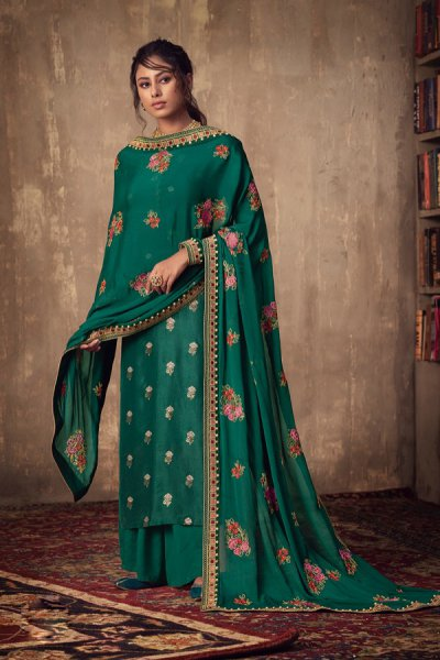 Bottle Green Jacquard Palazzo Suit