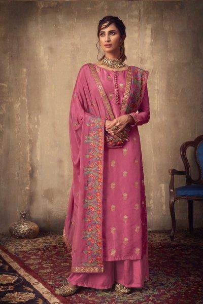 Pink Jacquard Palazzo Suit