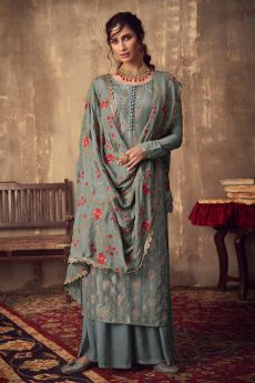 Grey Viscose Jacquard Weaved Palazzo Suit