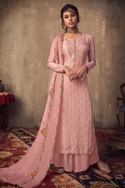 Baby Pink Jacquard Palazzo Suit