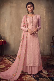 Baby Pink Viscose Jacquard Weaved Palazzo Suit