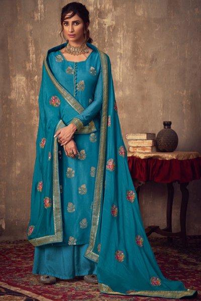 Blue Viscose Jacquard Weaved Palazzo Suit
