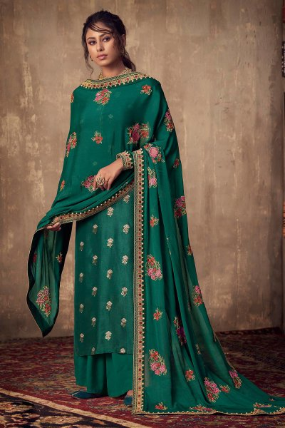 Bottle Green Viscose Jacquard Weaved Palazzo Suit