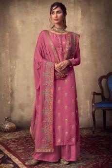 Pink Viscose Jacquard Weaved Palazzo Suit