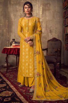 Mustard Viscose Jacquard Weaved Palazzo Suit