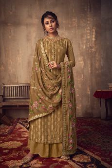 Greenish-Brown Viscose Jacquard Weaved Palazzo Suit