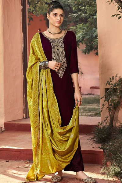 Wine Zari Embroidered Velvet Palazzo Suit