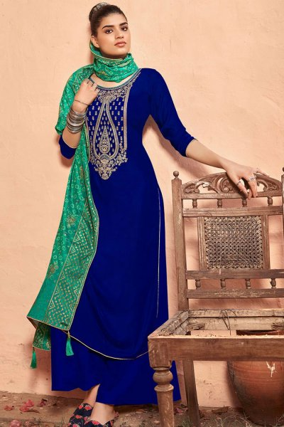 Royal Blue Zari Embroidered Velvet Palazzo Suit