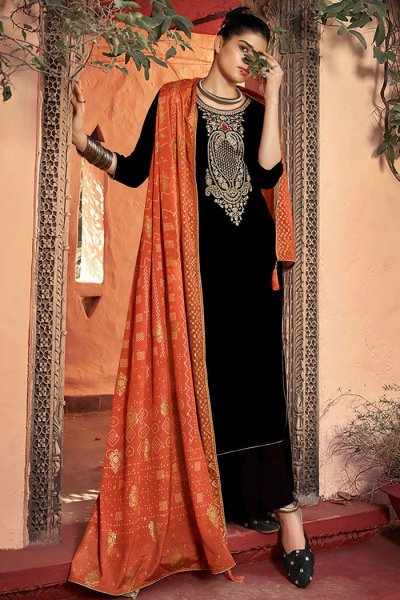 Black Zari Embroidered Velvet Palazzo Suit