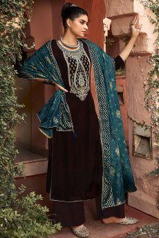 Coffee Brown Zari Embroidered Velvet Palazzo Suit