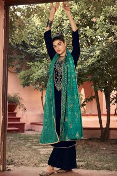 Dark Navy Zari Embroidered Velvet Palazzo Suit