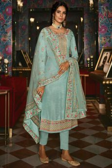 Sky Blue Straight Silk Pant Suit