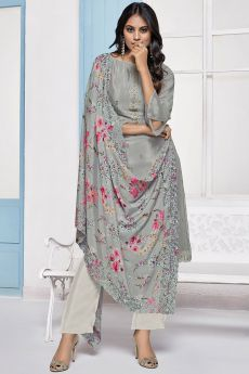 Grey Embroidered Designer Indian Suit in Chinon