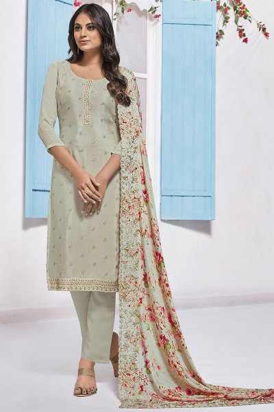 Off White Embroidered Designer Indian Suit in Chinon