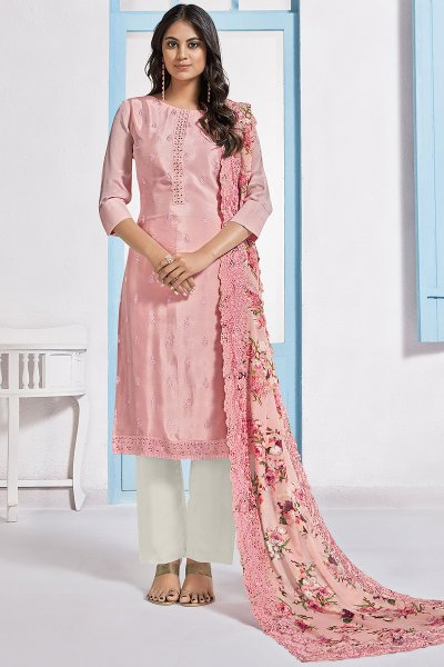 Pink Embroidered Designer Indian Suit in Chinon