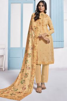 Pale Orange Embroidered Designer Indian Suit in Chinon