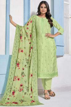 Green Embroidered Designer Indian Suit in Chinon