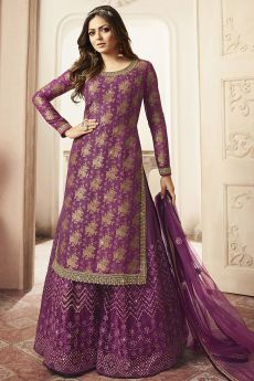 Purple Silk Embroidered Palazzo Suit