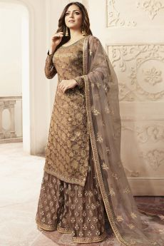 Brown Silk Embroidered Palazzo Suit