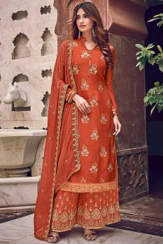 Orange Silk Jacquard Weaved Palazzo Suit