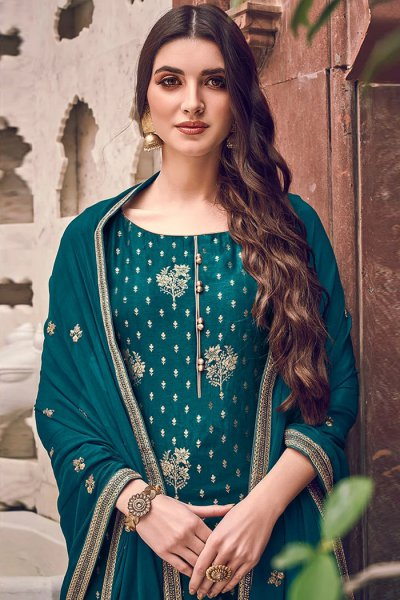 Teal Silk Jacquard Weaved Palazzo Suit