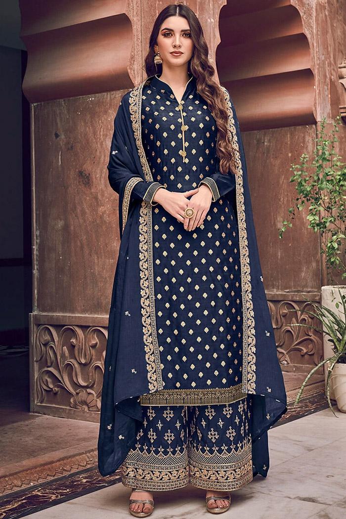 Dark Indigo Silk Jacquard Weaved Palazzo Suit