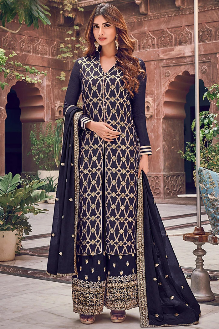 Dark Indigo Silk Jacquard Weaved Designer Indian Suit