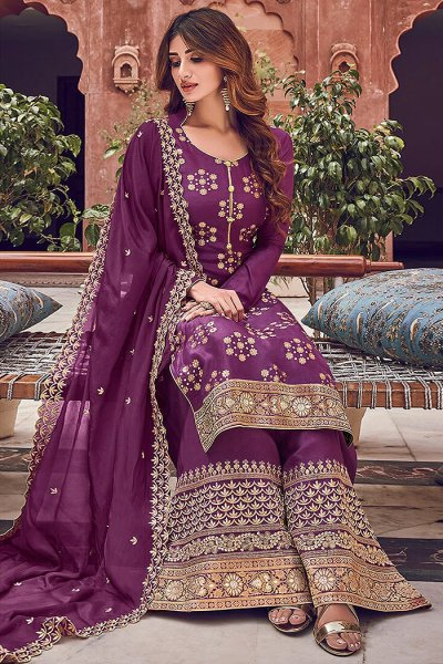 Purple Silk Jacquard Weaved Palazzo Suit