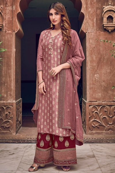 Dusky Pink Silk Jacquard Weaved Palazzo Suit