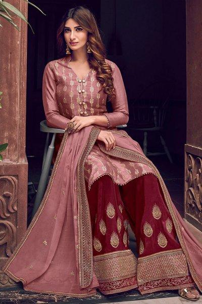 Dusky Pink Silk Jacquard Weaved Palazzo Suit