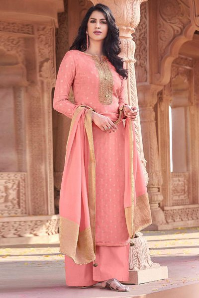 Peachish Pink Viscose Jacquard Weaved Palazzo Suit