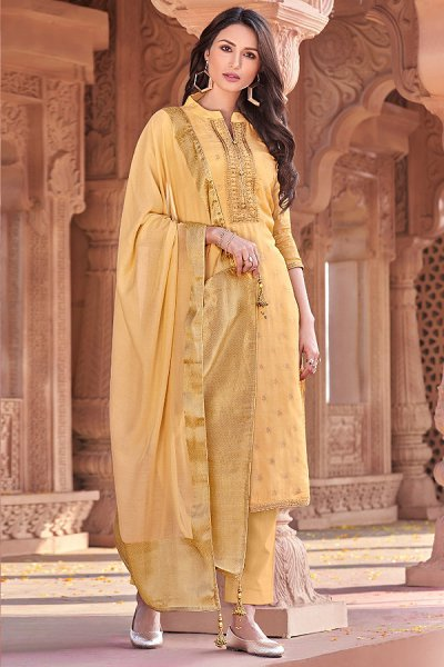 Amber Yellow Viscose Jacquard Weaved Palazzo Suit