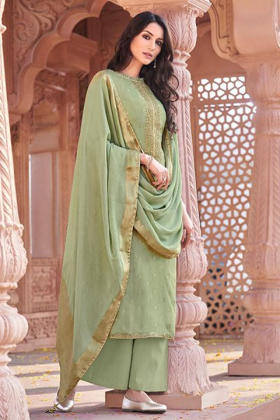 Pista Green Viscose Jacquard Weaved Palazzo Suit