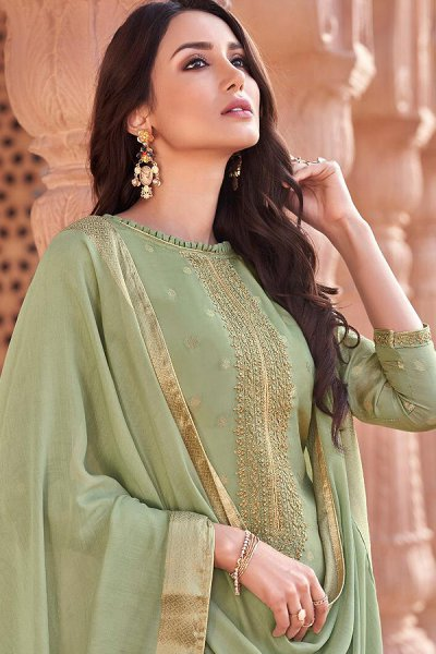 Ready to Wear Pista Green Viscose Jacquard Weaved Palazzo Suit