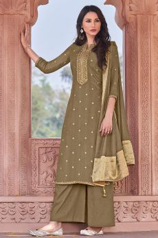 Olive Green Viscose Jacquard Weaved Palazzo Suit
