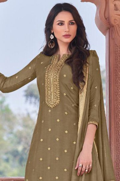 Ready to Wear Olive Green Viscose Jacquard Weaved Palazzo Suit