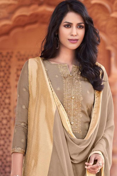 Ready to Wear Taupe Viscose Jacquard Weaved Indian Suit