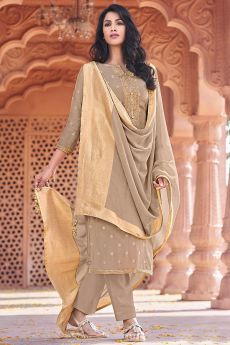 Taupe Viscose Jacquard Weaved Indian Suit