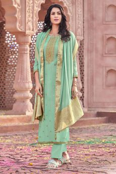Mint Green Viscose Jacquard Weaved Indian Suit