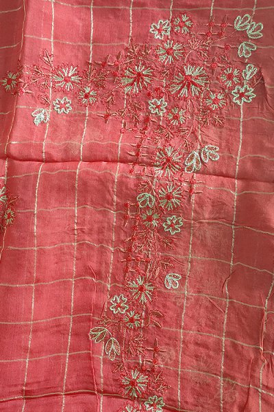Blush Red Silk Salwar Kameez with Beautiful Handwork