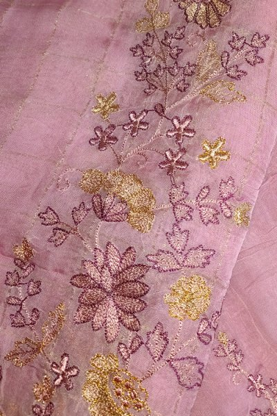 Dusty Pink Silk Salwar Kameez with Beautiful Handwork