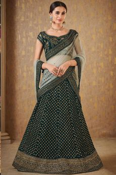 Bottle Green Designer Zari Embroidered Silk Lehenga